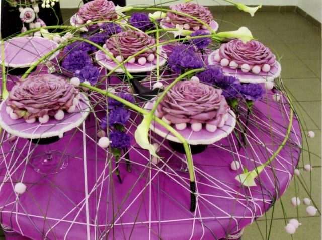 """The table decoration. The international school of floral design """"Nicole""""."""